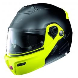 Casco Integrale apribile GREX serie G9.1 EVOLVE. Colore nero opaco con mentoniera giallo fluo.